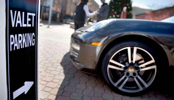 Valet Parking sign with Porsche